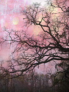 Gothic Crows Posters - Surreal Gothic Fantasy Abstract Pink Nature - Fantasy Surreal Trees Nature Photograph Poster by Kathy Fornal
