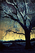 Surreal Fantasy Trees Landscape Posters - Surreal Gothic Fantasy Blue Tree Nature Sunset  Poster by Kathy Fornal