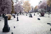 Surreal Infrared Photos By Kathy Fornal. Infrared Framed Prints - Surreal Gothic Fantasy Cemetery Graveyard Framed Print by Kathy Fornal
