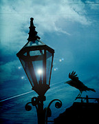 Ravens And Crows Photography Photos - Surreal Gothic Fantasy Dark Night Street Lantern With Flying Raven  by Kathy Fornal