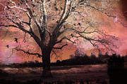 Fantasy Tree Art Prints - Surreal Gothic Fantasy Trees Pink Sky Ravens Print by Kathy Fornal