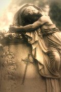 Surreal Female Cemetery Mourners Photos - Surreal Gothic Haunting Cemetery Mourner On Grave With Cross and Roses Coffin by Kathy Fornal