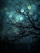 Fantasy Art Nature Photos Posters - Surreal Gothic Haunting Dark Blue Teal Trees Nature Forest Woodlands Night Landscape - Full Moon Poster by Kathy Fornal