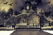 Fantasy Surreal Spooky Photography Framed Prints - Surreal Gothic Haunting Gate With Flying Ravens Framed Print by Kathy Fornal
