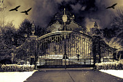 Fantasy Surreal Spooky Photography Framed Prints - Surreal Gothic Haunting Gate With Ravens Framed Print by Kathy Fornal