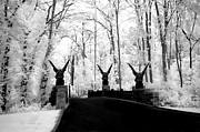 Surreal Images Photos - Surreal Gothic Infrared Black White Gargoyles - Surreal Fantasy Gargoyle Photography by Kathy Fornal