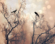 Dreamy Sepia Nature Photos Posters - Surreal Gothic Nature Ravens Trees - Surreal Fantasy Dreamy Trees Nature Raven Crows Trees  Poster by Kathy Fornal