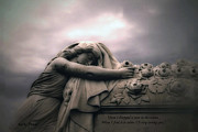 Inspirational Angel Art Prints - Surreal Gothic Sad Angel Cemetery Mourner  Print by Kathy Fornal