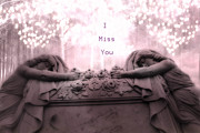 Cemetery Art Photos - Surreal Gothic Sad Angel Cemetery Mourners by Kathy Fornal