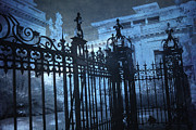 Savannah Architecture Posters - Surreal Gothic Savannah Mansion Black Rod Iron Gates Poster by Kathy Fornal