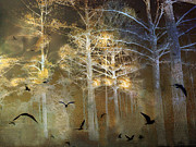 Surreal Art Photos - Surreal Haunting Fantasy Nature With Flying Ravens by Kathy Fornal