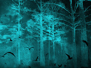 Fantasy Tree Art Print Photo Framed Prints - Surreal Haunting Fantasy Teal Green Nature Trees With Flying Ravens  Framed Print by Kathy Fornal