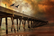 Flying Seagulls Framed Prints - Surreal Haunting Fishing Pier Ocean Coastal Storm Clouds  Framed Print by Kathy Fornal