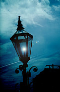 Lighted Street Prints - Surreal Haunting Night Lantern Overlooking Railroad Tracks Print by Kathy Fornal