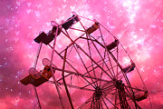 Pink Photographs Of Carnival And Festivals Ferris Wheels Framed Prints - Surreal Hot Pink Ferris Wheel Stars and Hearts Framed Print by Kathy Fornal