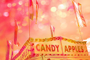 Pink Photographs Of Carnival And Festivals Ferris Wheels Prints - Surreal Hot Pink Yellow Candy Apples Carnival Festival Fair Stand Print by Kathy Fornal