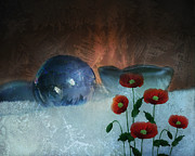 Wintery Digital Art Prints - Surreal Ice Poppies Print by Terry Fleckney