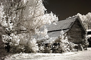 Old Barns Photo Prints - Surreal Infrared Sepia Barn Farm Landscape Print by Kathy Fornal