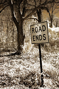 Rural Road Posters - Surreal Infrared Sepia Nature - The Road Ends Poster by Kathy Fornal