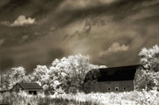 Surreal Dreamy Nature Photos Framed Prints - Surreal Infrared Sepia Rural Barn Landscape Framed Print by Kathy Fornal