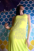 Fashion Photo Prints Prints - Surreal Mannequin Female In Yellow Dress - Summer Fashion Photography - Typography Quote Print by Kathy Fornal