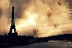 Romantic Paris Prints Posters - Surreal Paris Eiffel Tower Storm Clouds Sunset Sepia and Hot Air Balloons Poster by Kathy Fornal
