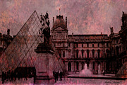 Louvre Museum Framed Prints - Surreal Paris Louvre Museum Architecture Pyramid Framed Print by Kathy Fornal