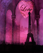 Romantic Paris Prints Posters - Surreal Pink Fantasy Paris Eiffel Tower Architecture Montage Poster by Kathy Fornal