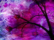 Tree Surreal Posters - Surreal Purple Pink Trees Hot Air Balloons Poster by Kathy Fornal