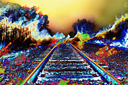 Unreal Painting Prints - Surreal Railroad Tracks in Radioactive Mist Print by Elaine Plesser