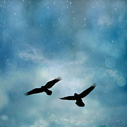 Ravens Posters - Surreal Ravens Crows Flying Blue Sky Stars Poster by Kathy Fornal