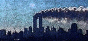 Twin Towers Trade Center Digital Art Metal Prints - Surreal silhouette  Metal Print by James Kosior