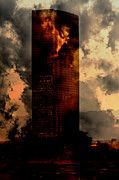 Wolkenkratzer Metal Prints - Surreal Sky Scraper Metal Print by Gunter Nezhoda