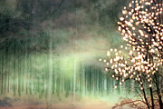 Surreal Art Photos - Surreal Sparkling Fantasy Nature - Green Sparkling Lights Trees Forest Woodlands by Kathy Fornal