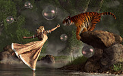 Tiger Dream Framed Prints - Surreal Tiger Bubble Waterdancer Dream Framed Print by Daniel Eskridge