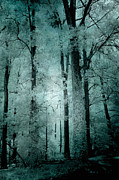 Fantasy Art Nature Photos Posters - Surreal Trees Fantasy Dark Eerie Haunting Teal Green Woodlands Forest - Lost In The Woods Poster by Kathy Fornal