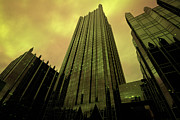 Glass Prints - Surreal View of PPG Plaza Pittsburgh Print by Amy Cicconi