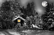 Snow Scape Framed Prints - Surreal Winter Landscape With Moonlight Framed Print by Christian Lagereek