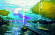 Sunset Seascape Pastels Posters - Surrealism Sailor Pastel Poster by Stefan Kuhn