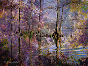 Cypress Digital Art Prints - Surrealistic Morning Reflections Print by J Larry Walker