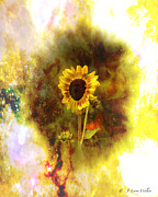 Layered Prints - Surrealistic Sunflower Artistry Print by J Larry Walker