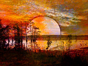 Foggy Digital Art Prints - Surrealistic Sunrise Print by J Larry Walker