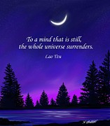 Lao Tzu Prints - Surrender to the Starry Night Print by Amy Scholten