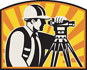 Construction Prints - Surveyor Engineer Theodolite Total Station Retro Print by Aloysius Patrimonio