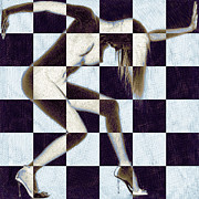 Survive Nude Woman Checkered 2 Print by Tony Rubino