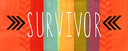 Stripes Mixed Media Posters - Survivor Poster by Linda Woods
