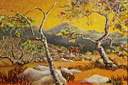 Riverbed Paintings - Survivor Sycamore and Deer by Jan Mecklenburg