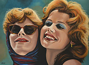 Realistic Painting Framed Prints - Susan Sarandon and Geena Davies alias Thelma and Louise Framed Print by Paul  Meijering