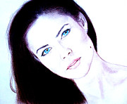 Beauty Mark Drawings Prints - Susan Ward Blue Eyed Beauty with a Mole II Print by Jim Fitzpatrick