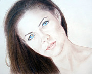 Facial Mole Prints - Susan Ward Blue Eyed Beauty with a Mole Print by Jim Fitzpatrick